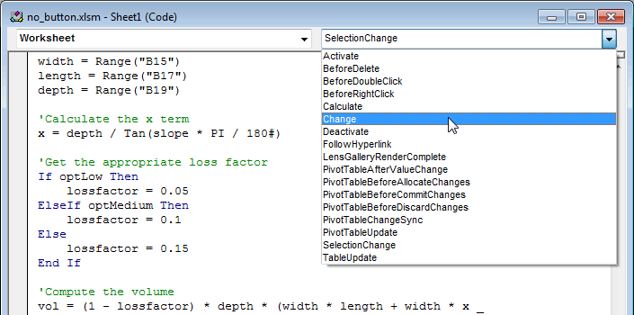 Vba Primer. Are Listed Along With The Worksheet Itself If You Highlight One Of Objects Can Then Select An Event From Bo Box On Right. Worksheet. How To Do Worksheet Change Event At Clickcart.co